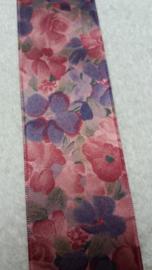 Satijnen Vintage Lint/Band Bloemen 2 kleurig