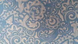 Coupon Retro Fantasie Bloemen Lichtblauw/Wit