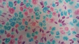 Coupun Lila met Blauw/Roze Bloemen