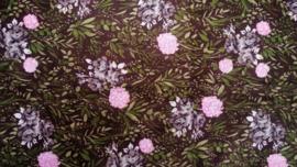 Coupon Retro Groen met Roze Bloemen