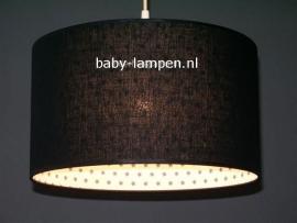 Babylamp zwart met wit en grijze sterren