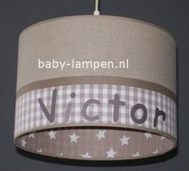 lamp babykamer  beige ruit en sterren Victor