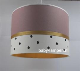 Lamp babykamer oud roze zwarte stippen en oker geel