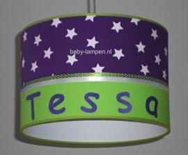 Babylamp Tessa paarse sterren en lime groen