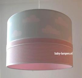 Lamp babykamer mint wolkjes en roze streepjes