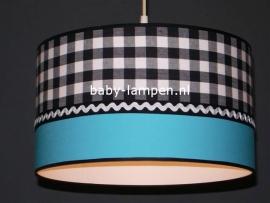 lamp babykamer zwarte ruit effen aqua