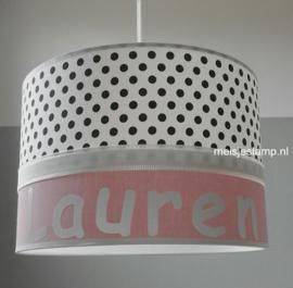 Baby hanglamp zwarte stippen en poeder roze
