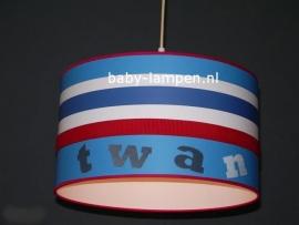 lamp babykamer behang  rood wit blauw Twan
