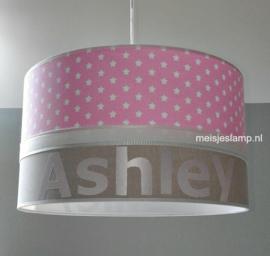 baby hanglamp roze witte sterren en beige
