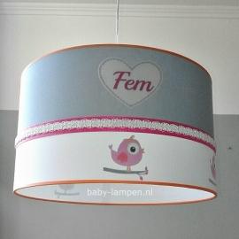 Babylamp fem 3x hartjes en rondom vogeltjes
