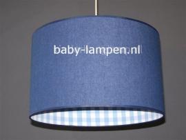 Babylamp spijkerstof en lichtblauwe ruit