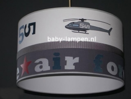 Stoere lamp babykamer helicopter wit en grijs