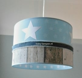 babylamp lichtblauw witte sterren steigerhout