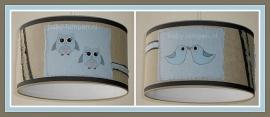 Stoere lamp babykamer beige lichtblauw met vogel en uil