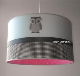 Babylamp mintgroen uiltjes en roze stipje