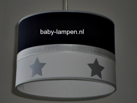 babylamp donkerblauw en zilveren sterren
