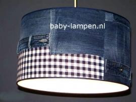 Stoere lamp babykamer spijkerbroek met blauwe ruit