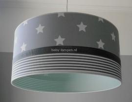 Babylamp grijze sterren en strepen en mint groen binnenkant