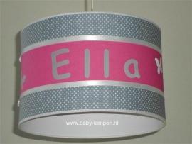 Babylamp Ella effen fuchsia en grijs stipje met vlindertjes