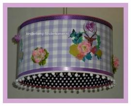 babylamp 3x hertje paars stipje lila ruit en kunstbloemen