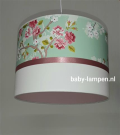 babylamp mint groen en oudroze bloemen behang