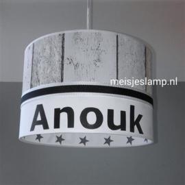 Lamp babykamer steigerhout wit grijze sterren