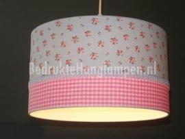 Babylamp lichtblauw roosje en roze ruitjes