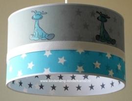 Babylamp 5x blauw girafje en blauwe en grijze sterren