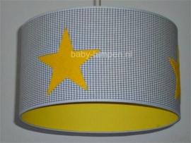 babylamp grijze ruit met drie gele sterren