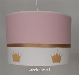 babykamer lamp oudroze gouden kroontjes