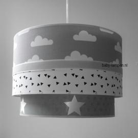 babylampen grijs witte wolkjes