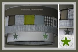 lamp babykamer naailamp groen grijs wit en sterren