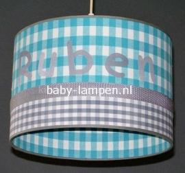 lamp babykamer Ruben aqua en grijze ruit