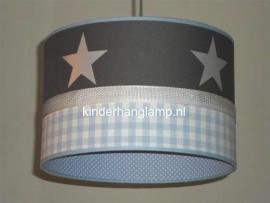 Babylamp effen antraciet lichtblauwe ruit en zilveren sterren binnenkant lichtblauwe stippen