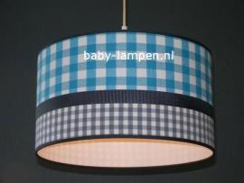 Babylamp blauwe ruit en grijs ruitje