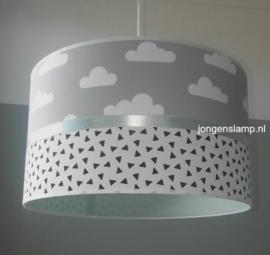 lamp babykamer mint groen grijs witte wolkjes
