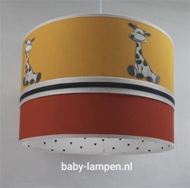 Lamp roestbruin okergeel en girafjes
