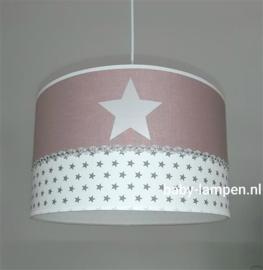 lamp babykamer oud roze 3x zilveren ster