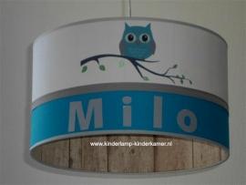 Babylamp Milo met uiltje op tak en steigerhout print