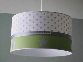 babylamp wit zilversterren en lime groen