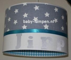 lamp babykamer grijze sterren en turquoise ruitje Jipp