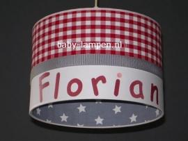 lamp babykamer rode ruit en grijze sterren Florian