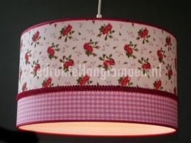 Babylamp rood roosje en roze ruit