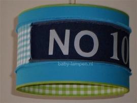 babylamp babykamer stoer NO 10 met spijkerstof en lime groen ruitje