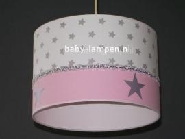 Babylamp zilveren sterren en effen roze