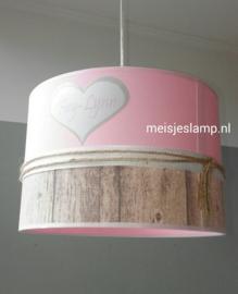 Babylamp roze steigerhout