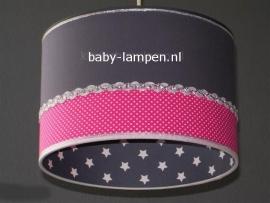 Babylamp effen antraciet fucsia stipje en sterren