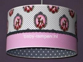 lamp babykamer hertje roze en grijze stipjes