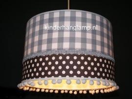 Babylamp grijze ruit en stip met bolletjes
