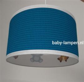Babyhanglamp petrol/blauw met diertjes